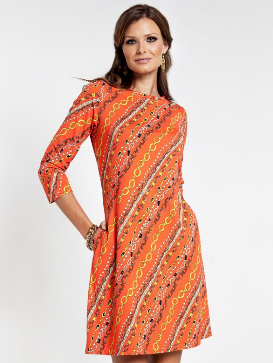 nylon spandex pocket dress style 179A94 orange