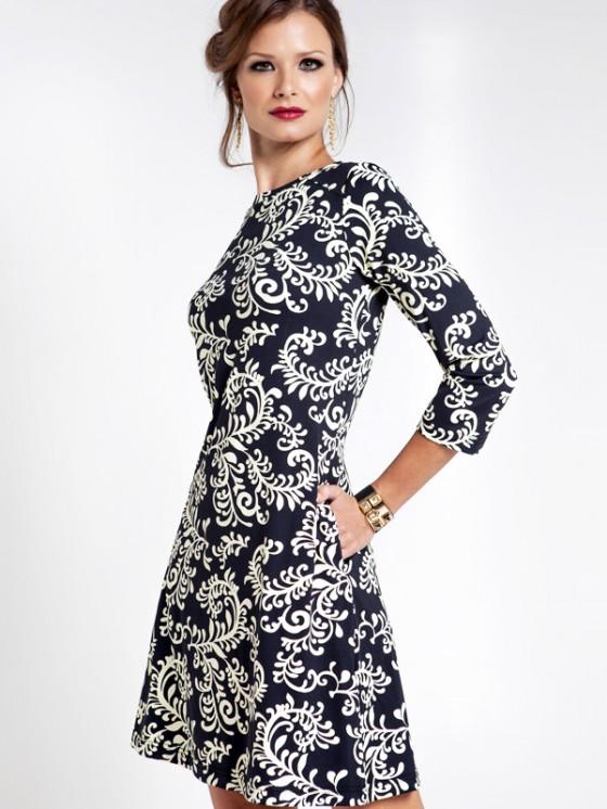 nylon spandex pocket dress style 179A96 black white