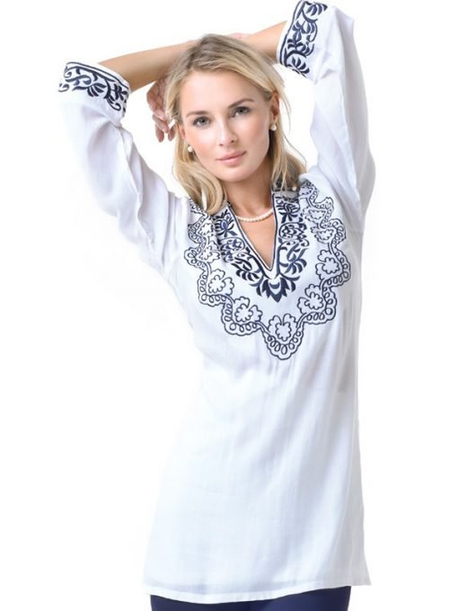 barbara gerwit resortwear white cotton tunic