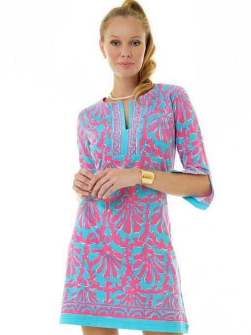 coordinate knit dress seafoam hot pink