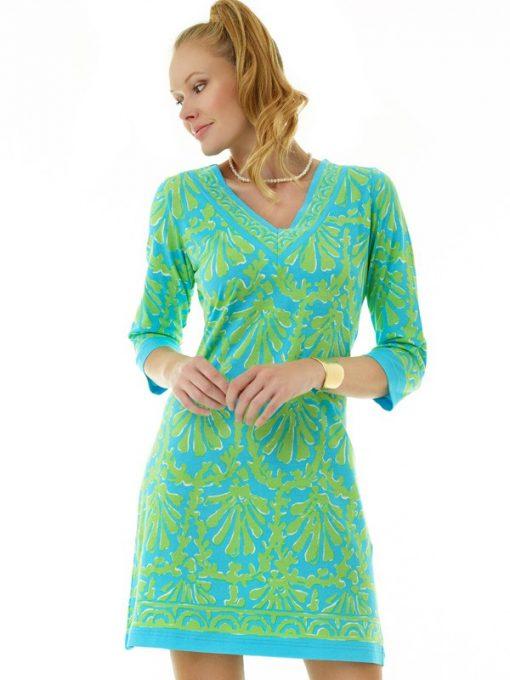 173c11 coordinate knit dress turq lime