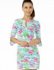 vintage knit flamingo dress seafoam pink 580c21
