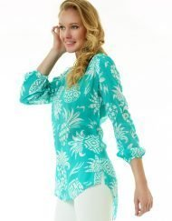 201c12 coordinate print silky cotton tunic seafoam