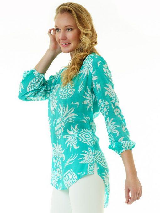 201c12 coordinate print silky cotton tunic seafoam