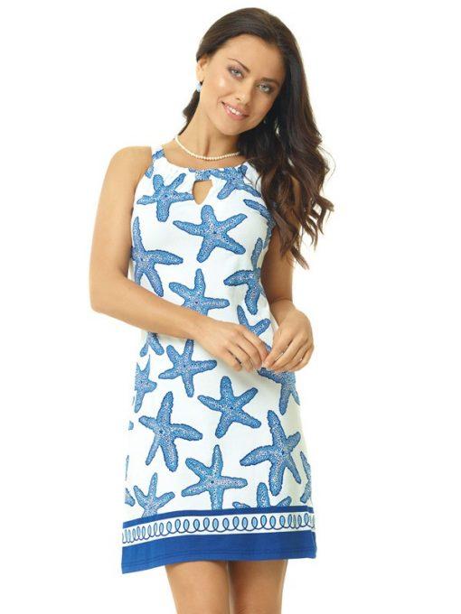 146c34 artisan print cotton knit dress blue