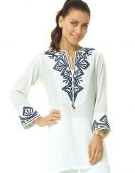 520r26 embroidered silky cotton tunic white navy