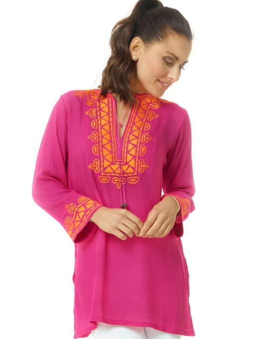 520r27 embroidered silky cotton tunic hot pink orange