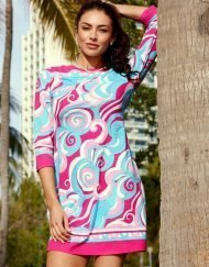240c26 engineered knit dress pink turq