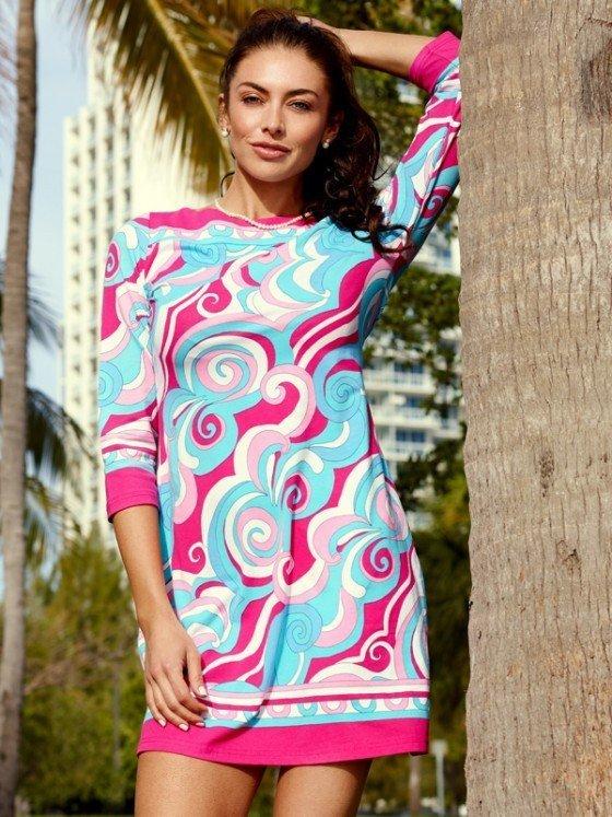240c26 engineered knit dress pink turq