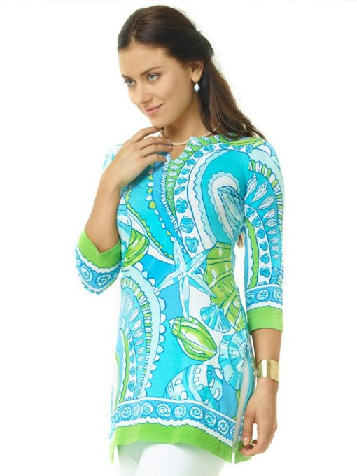 380c29 engineered knit tunic green turq