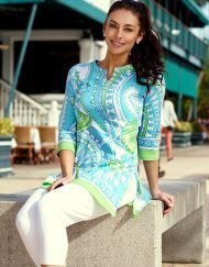 380c29 engineered knit tunic green turq-2