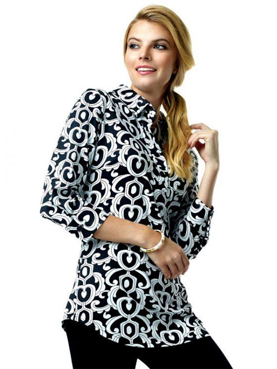312C62 Nylon Spandex Tunic Black-White 99325