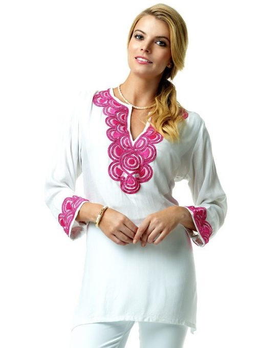 520R29 Jacquard Silky EMB Tunic White-Hotpink