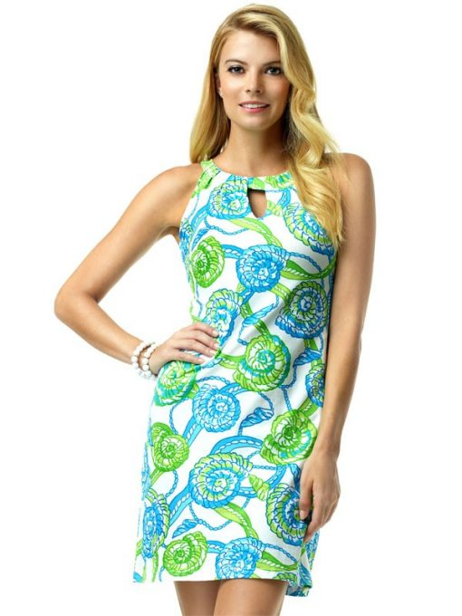 146C53 Vintage Knits Dress Blue-Lime