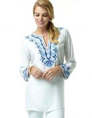 520R28 Jacquard Silky Tunic White-Blue 99081