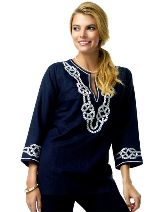 520R32 Linen Tunic Navy-White 99294