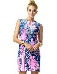 610C49 Artisan Knit Dress Pink-Navy 99724