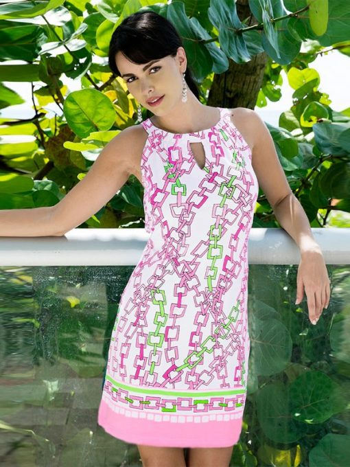 10 - Engineered Knit Dress 146B10-Pink_Lime