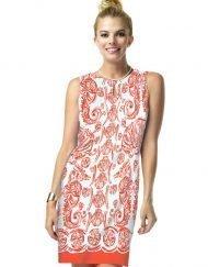 14 - Engineered Knit Dress Sleeveless Dress Slit Neck Style 610C61 Poppy-Tonal