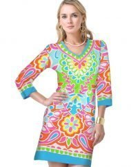 20 - Engineered Knit Dress V-Neck Style 220C59 Blue-Multi
