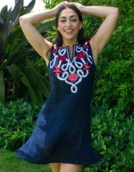 208q95 embroidered linen dress navy red white