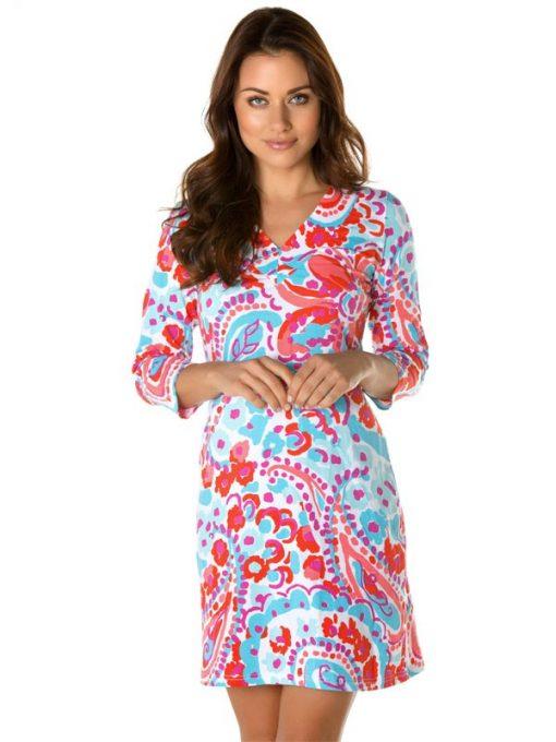 220C73 Vintage Knit Dress Seafoam-Orange 2437 C73