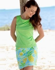 277C75 Vintage French Terry Skort Turq-Lime 4812 C75