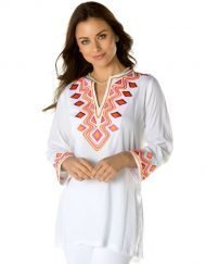 520R44 Jacquard Silky Tunic White-Hotpink-Orange 2693 R44