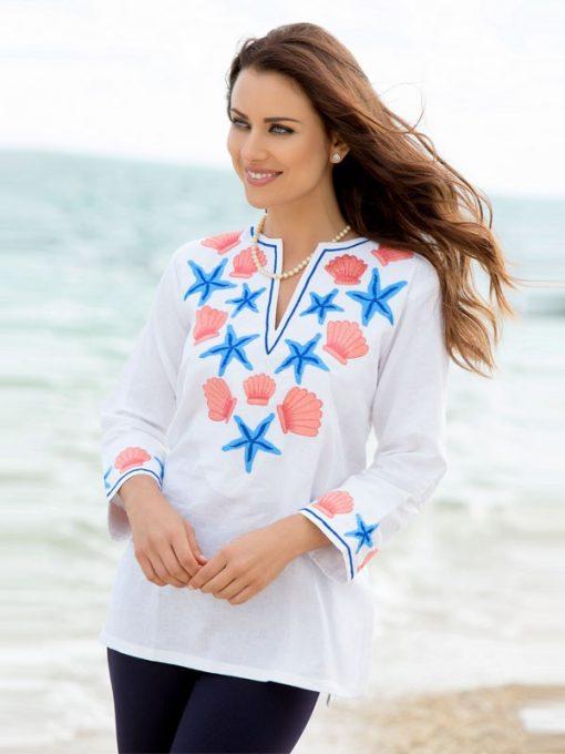 520R53 Linen Tunic White-Coral-Blue 6735 R53