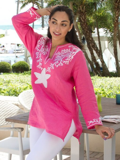 520q61 embroidered linen tunic hot pink white