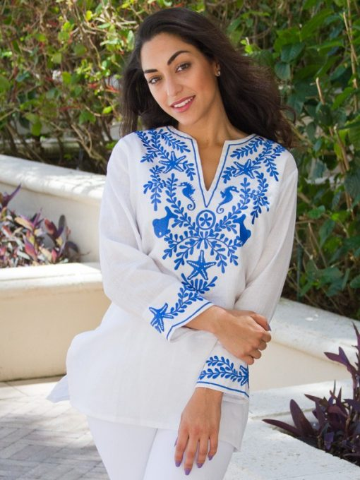 520q96 embroidered linen tunic white blue