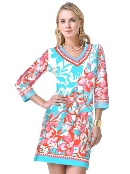 Engineered Knit Dress Style 220C14 - Seafoam_Poppy