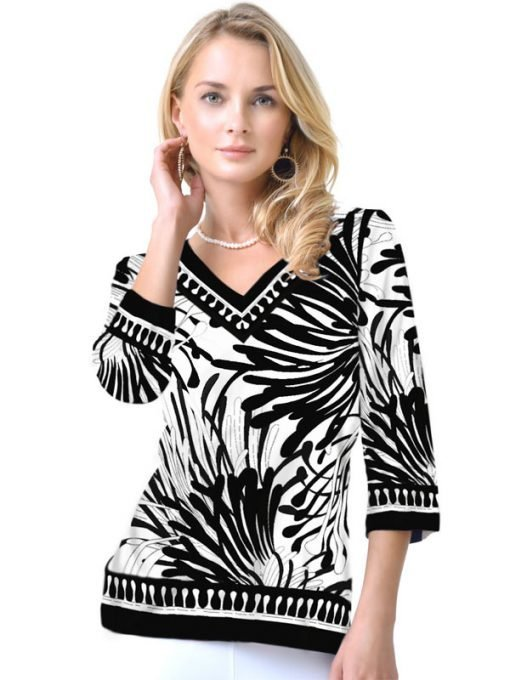 Engineered Knit Top V-Neck Style 920B11 Black White