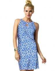 Nylon Spandex Dress Halter Neck Style 146C62 Blue-Tonal 01