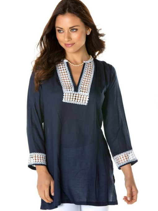 520r45 embroidered jacquard silky cotton tunic navy white