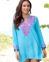 520r47 embroidered jacquard silky cotton tunic seafoam hot pink