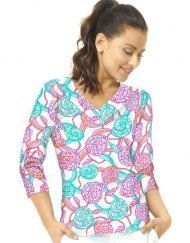 02 - Vintage Knit Top V-Neck Style 920C53 Seafoam-Hot Pink