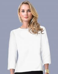 06 - Solid Dyed Crew Neck Top Style 670Q11 White