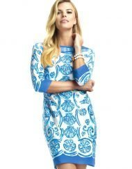 15 - Engineered Knit Dress Boat Neck Style 240C61 Blue-Tonal
