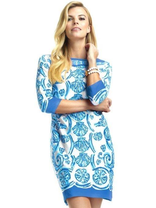 15 - Engineered Knit Dress Boat Neck Style 240C61 Blue-Tonal