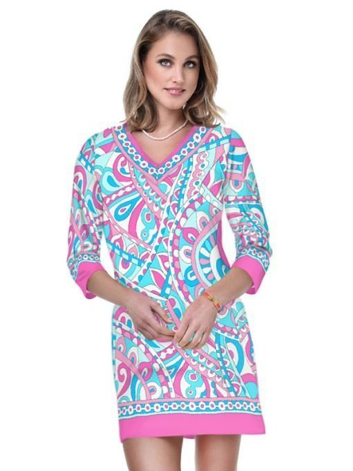 05 - Engineered Cotton Knit Dress V-Neck Style 220C94 Sf Pink