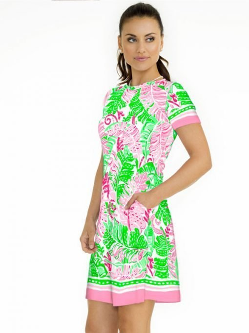 08 - Engineered Cotton Knit Dress Pocket Style 295C98 Pink green