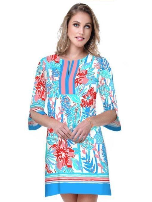 14 - Engineered Cotton Knit Dress Slit Neck Style 580C82 Blue Poppy