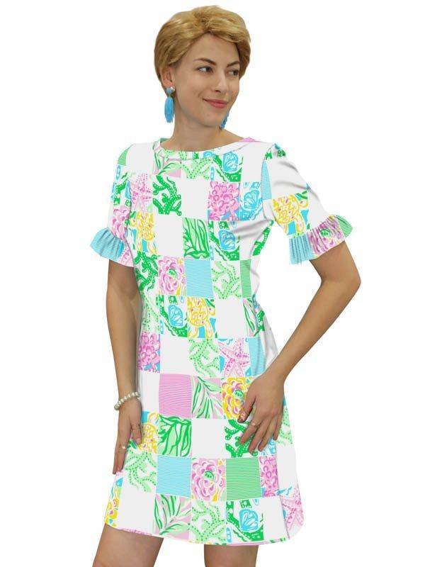 Engineered Knit Ruffled Short Sleeve Dress Style 679D71 PG