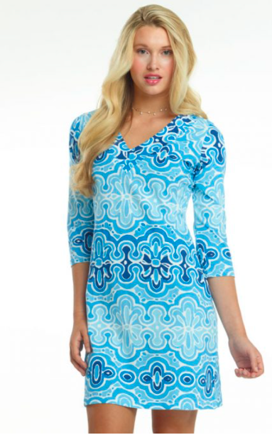 A cool blue and white printed dress