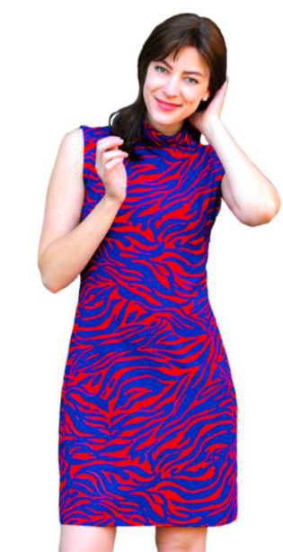 Daring red and blue printed Summer dress