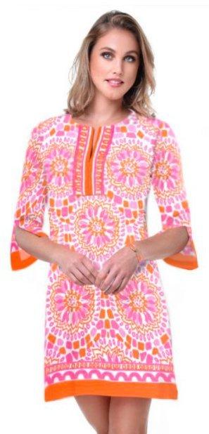 Woman wearing a bold printed dress