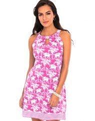 A woman wearing a pink and white knit dress