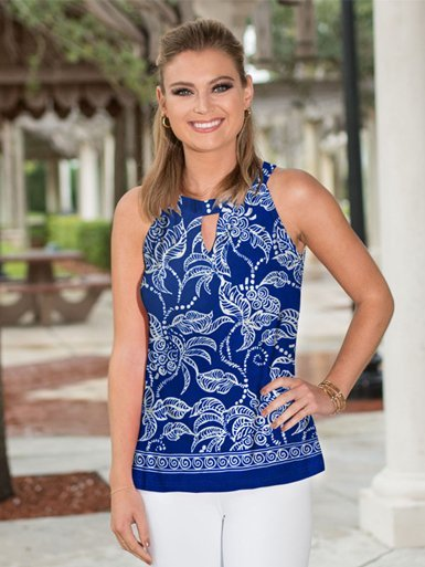 Blue and white sleeveless halter neck knit top