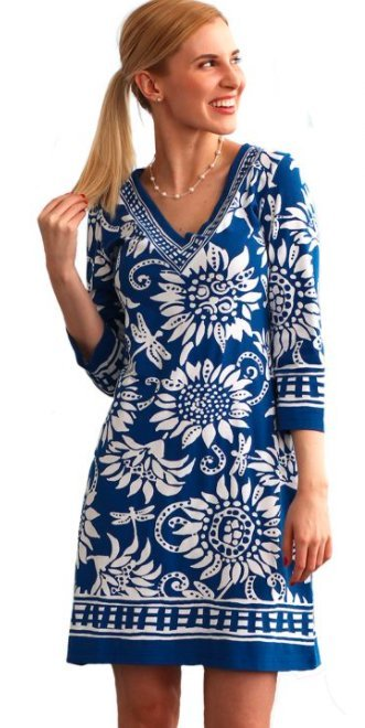 Cute blue and white printed dress